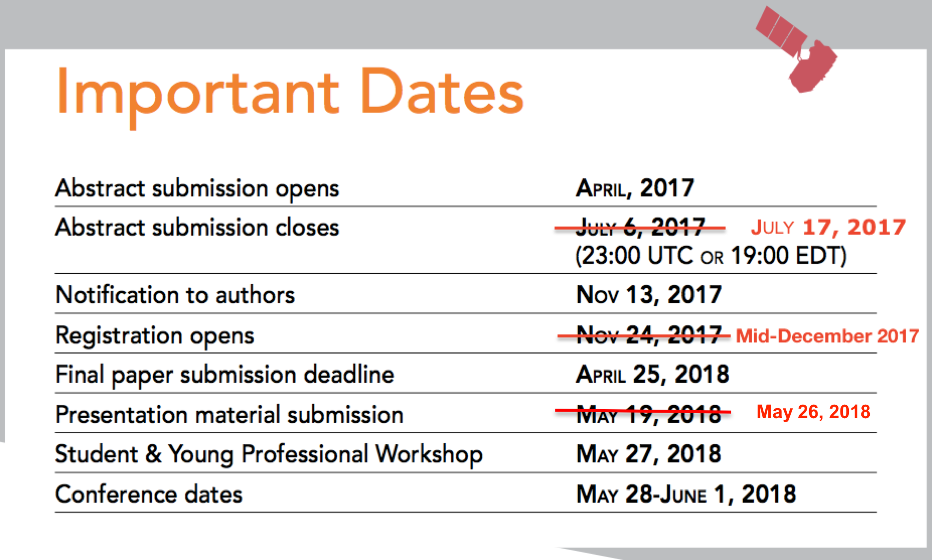 key dates deadlines spaceops 2018 the 15th international